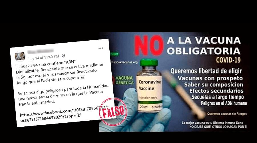 """Es falso que """"la nueva vacuna"""" contra el coronavirus tiene """"ARN digitalizable"""" que se """"activa mediante el 5G"""" y puede reactivar el virus"""