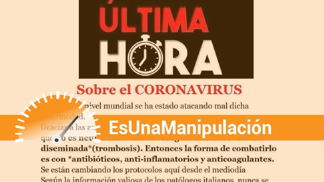 Es una manipulación la publicación que afirma que el coronavirus provoca trombosis en vez de neumonía