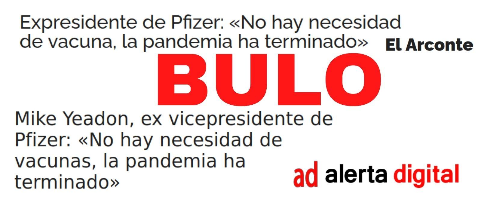 No, ni el expresidente ni el exvicepresidente de la farmacéutica Pfizer han dicho sobre el coronavirus que 'no hay necesidad de vacuna, la pandemia ha terminado'
