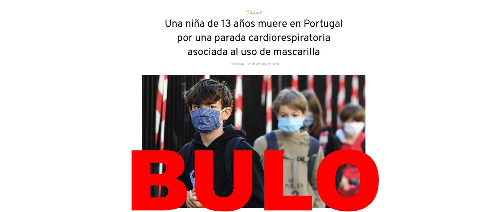 No, no ha muerto una niña de 13 años en Portugal por una parada cardiorrespiratoria «asociada al uso de la mascarilla»