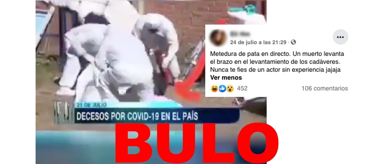 No, este vídeo no muestra a un muerto por COVID-19 levantando el brazo en Bolivia: lo que se ve en las imágenes es un simulacro