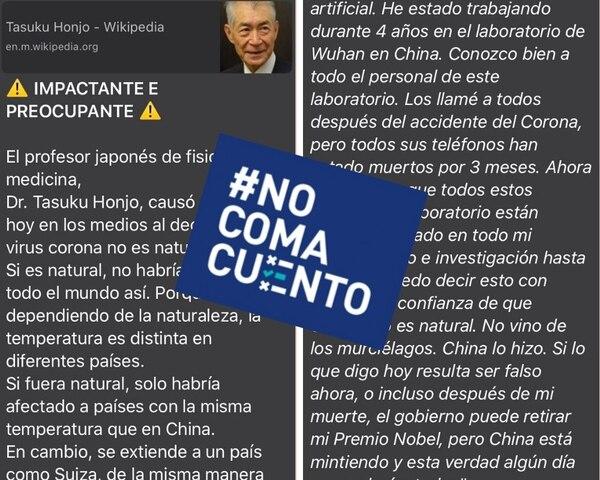 Premio Nobel de Medicina Tasuku Honjo no dijo que el nuevo coronavirus 'fue fabricado en China'