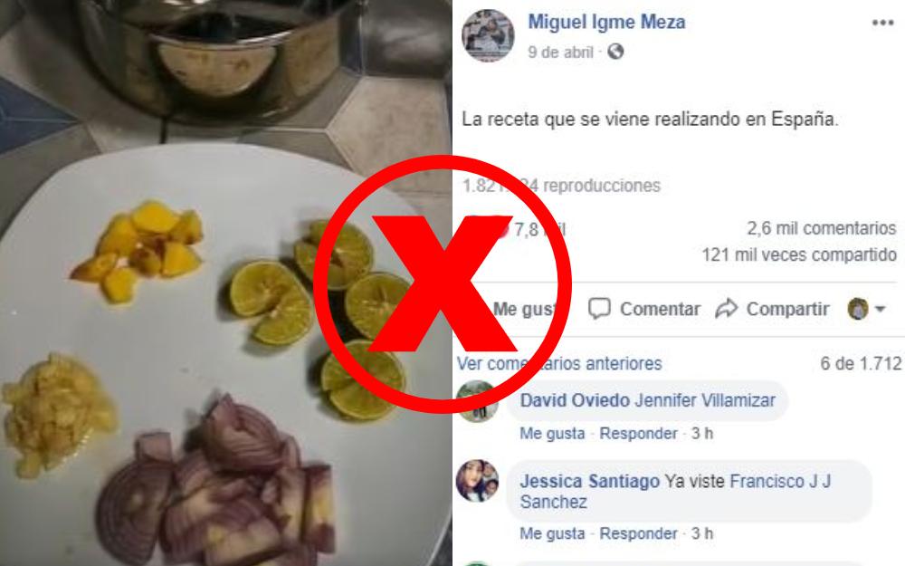 La mezcla de agua, jengibre y el limón no cura el COVID-19