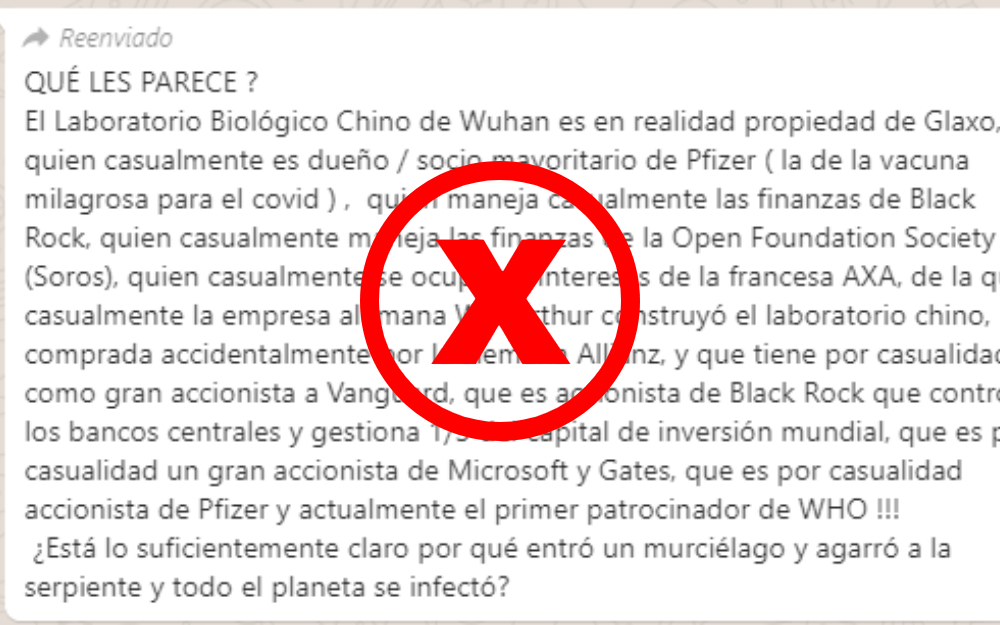 EI Instituto de Virología de Wuhan no tiene relación con las farmacéuticas GSK y Pfizer