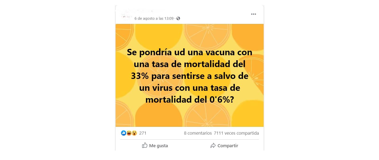 Por qué una vacuna que presenta una mortalidad del 33% nunca saldría al mercado